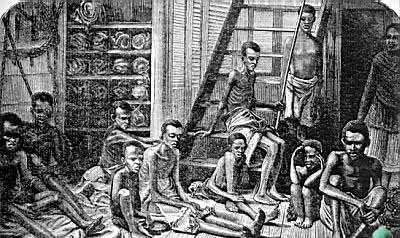 Bodega de un barco negrero. grabado del año 1873.